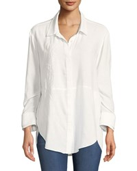 Halston Ruched Sleeve Embroidered Shirt Chalk