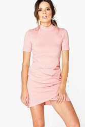 Boohoo High Neck Cap Sleeve Wrap Dress Coral