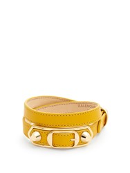 Balenciaga Metallic Edge Wraparound Leather Bracelet Yellow