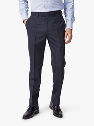 Chester Barrie By Traveller Wool Subtle Check Tailored Suit Trousers Navy