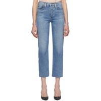 Re Done Blue Originals High Rise Stove Pipe Jeans