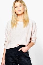 Boohoo Boxy Scoop Neck Jumper Pink