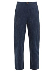 Mih Jeans M.I.H Daxton Pick Stitch Cotton Trousers Navy