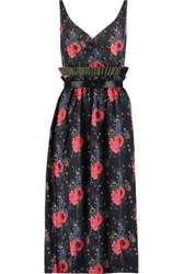 Mother Of Pearl Leander Floral Print Silk Georgette Midi Dress Red
