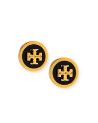Tory Burch Lacquered Logo Stud Earrings Yellow Black