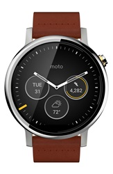 Motorola 'Moto 360 2Nd Gen' Leather Strap Smart Watch 46Mm Cognac Silver