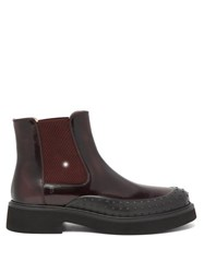 Tod's Rubber Toe Patent Leather Chelsea Boots Burgundy