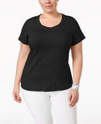 Charter Club Plus Size Pima Cotton Scoop Neck T Shirt Only At Macy's Deep Black