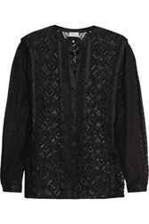 Temperley London Cruz Silk Trimmed Lace Shirt Black