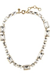 J.Crew Rectangle Gold Tone Crystal Necklace Gray