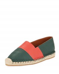 Valentino Striped Jute Trimmed Loafers Green