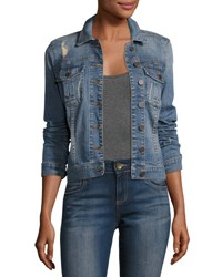 Kut From The Kloth Amelia Distressed Jean Jacket Blue