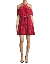 Shoshanna Cold Shoulder Silk Floral Print Dress Cherry Multi
