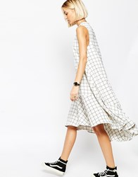 Asos White Trapeze Dress In Grid Print Multi