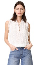 Rebecca Taylor Sleeveless Florence Embroidered Top Chalk