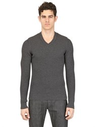 Dolce And Gabbana Ribbed Merino Wool V Neck Sweater