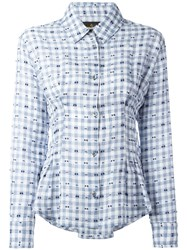 Vivienne Westwood Anglomania Embroidered Pleated Detail Shirt Blue