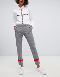 Hugo Tailored Check Trousers With Contrast Stripe Open Miscellaneous Grey