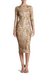 Dress The Population Women's 'Emery' Sequin Midi Brushed Gold