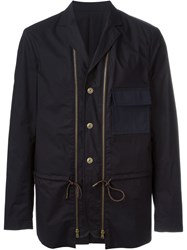 Marni Two Front Zip Short Coat Blue
