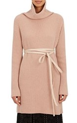 Valentino Women's Wool Cashmere Belted Turtleneck Sweater Nude