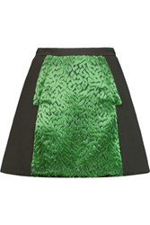 Delpozo Devor And Eacute Velvet And Wool Blend Crepe Mini Skirt Dark Green