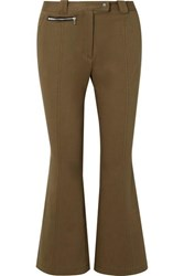 Proenza Schouler Cropped Cotton Blend Twill Flared Pants Army Green