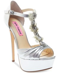 Betsey Johnson Elizabth Platform Evening Sandals Women's Shoes Silver