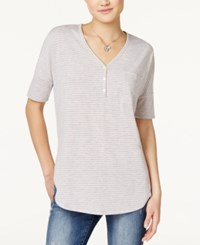 Rebellious One Juniors' Knotted Henley T Shirt Heather Grey Blush Pinstripes