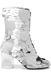 Maison Martin Margiela Paillette Embellished Textured Leather Ankle Boots Silver