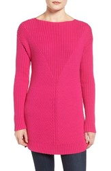 Vince Camuto Women's Rib Knit Long Sweater Pop Pink