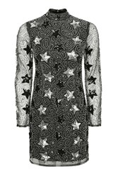 Topshop Star High Neck Mini Dress Silver