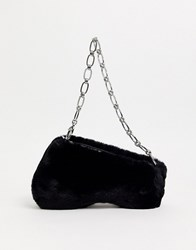Topshop Faux Fur Shoulder Bag In Black
