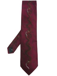 Jean Paul Gaultier Vintage Snake Embroidered Tie Pink And Purple