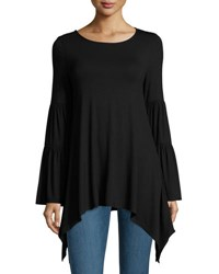 Neiman Marcus Long Sleeve Tiered Peasant Top Black