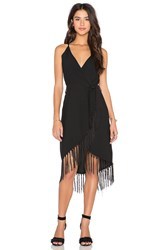 Glamorous Fringe Wrap Dress Black