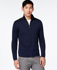 Dkny Contrast Zip Sweater Lapis Blue