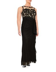 Decode 1.8 Plus Lace Accented Illusion Gown Black Nude