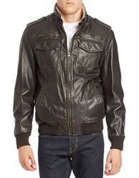 Levi's Faux Fur Lined Faux Leather Bomber Jacket Brown