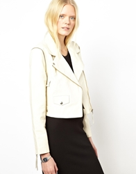 Just Female Leather Biker Jacket White