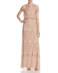 Adrianna Papell Short Sleeve Beaded Blouson Gown Taupe Pink