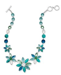 Anne Klein Silver Tone Multi Stone Floral Statement Necklace