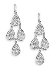 Amrita Singh Victorian Austrian Crystal Teardrop Chandelier Earrings Silver