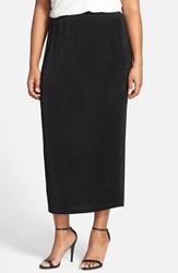 Vikki Vi Stretch Knit Straight Maxi Skirt Plus Size Black