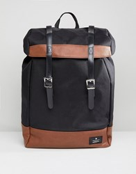 Asos Design Hiker Backpack In Black With Tan Faux Leather Trims
