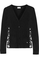 Temperley London Eliza Wool Silk And Cashmere Blend Cardigan Black