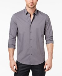 Alfani Men's Stretch Modern Solid Shirt Created For Macy's New Grey
