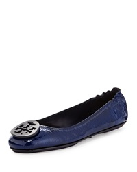 Minnie Patent Leather Travel Ballet Flat Tory Navy Tory Burch