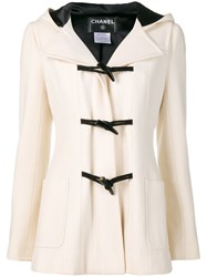 Chanel Vintage Hooded Duffle Coat Neutrals