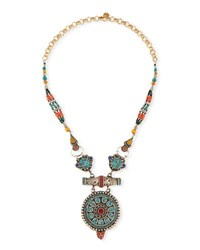 Devon Leigh Antiqued Turquoise Coral And Lapis Pendant Necklace